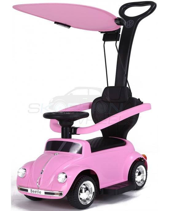 Περπατούρα Αυτοκινητάκι Skorpion Με Λαβή Γονέα Και Τέντα VW Beetle Ροζ - 5244018